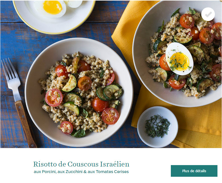 Risotto de Couscous Israélien aux Porcini, aux Zucchini & aux Tomates Cerises